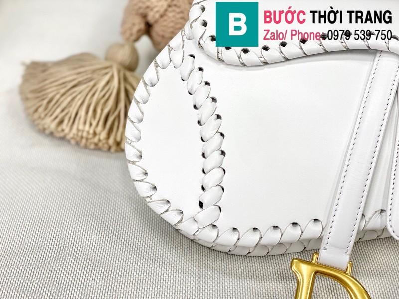Túi xách Dior Saddle siêu cấp da bê màu trắng size 25.5cm - M0446