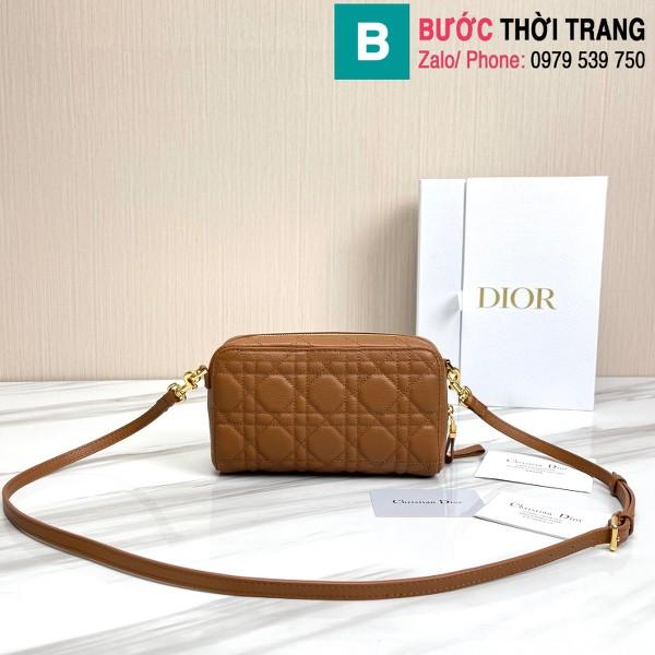 Túi xách Dior caro bag siêu cấp da bê màu nâu size 19cm