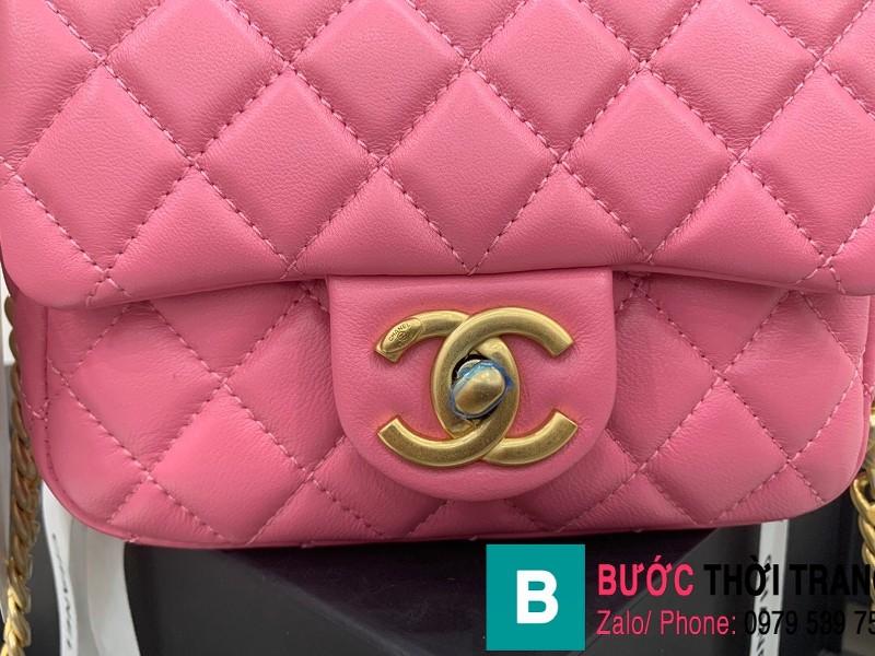 Túi đeo chéo Chanel Flap Bag siêu cấp da cừu màu hồng size 18cm AS2379