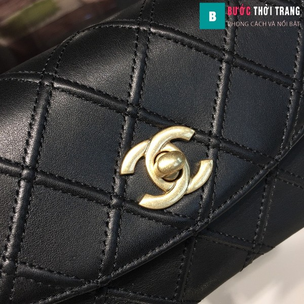 Túi xách đeo bụng Chanel  siêu cấp màu đen da bê size 17cm
