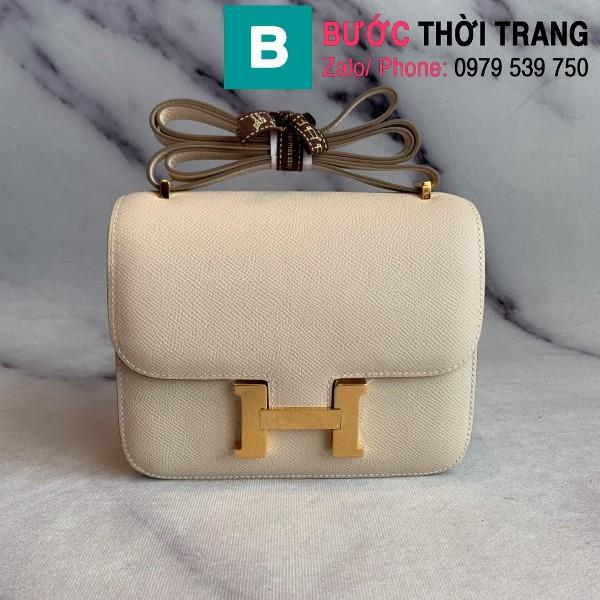 Túi xách Hermes Constance siêu cấp da epsom màu trắng size 18cm