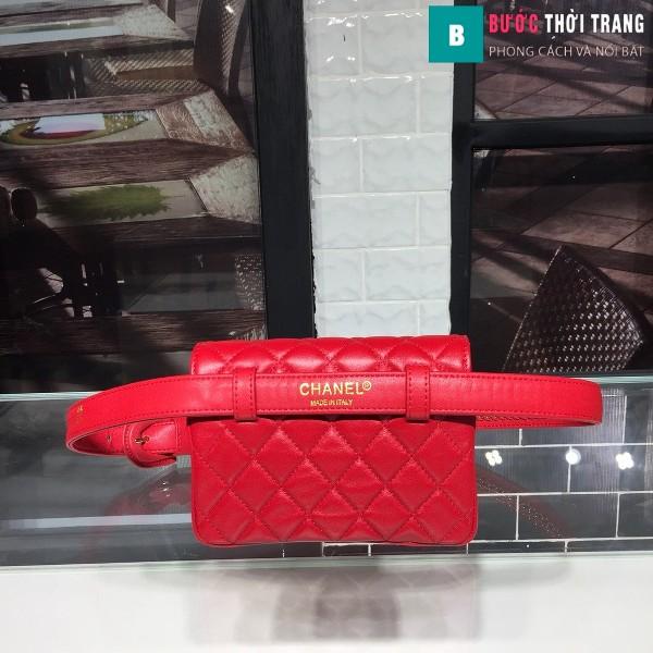 Túi xách đeo bụng Chanel siêu cấp màu đỏ da bê size 17cm