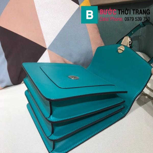 Túi xách Bvlgari serventi forever siêu cấp da bê màu xanh đậm size 18 cm