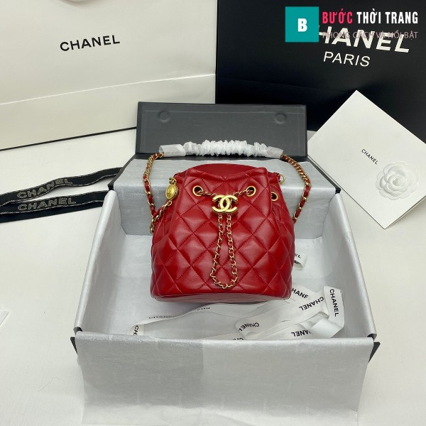Túi xách Chanel Drawstring Bag siêu cấp màu đỏ ngà size 20 cm da cừu