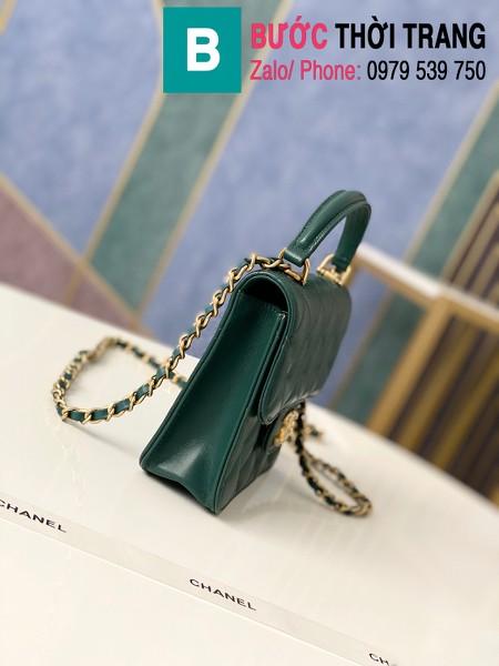Túi xách tay Chanel mẫu mới siêu cấp da bê màu xanh size 18 cm - AS8817