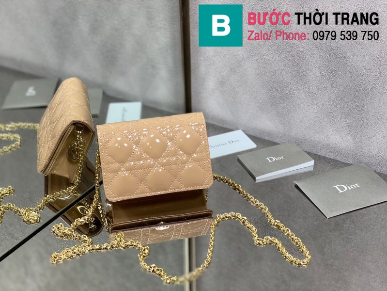 Túi xách Lady Dior Nano Pouck siêu cấp da bê màu nude size 13.5cm -D6401