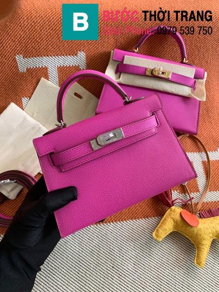 Túi xách Hermes Kelly mini siêu cấp da epsom màu cánh sen size 19.5cm