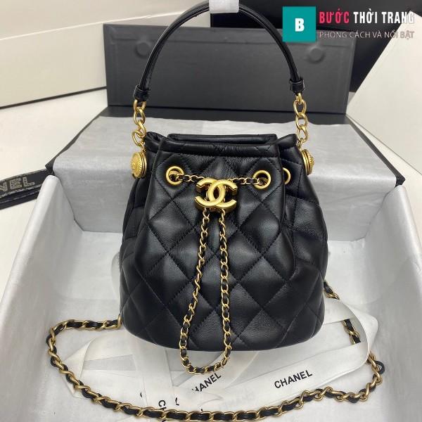 Túi xách Chanel Drawstring Bag siêu cấp màu đen size 20 cm da cừu