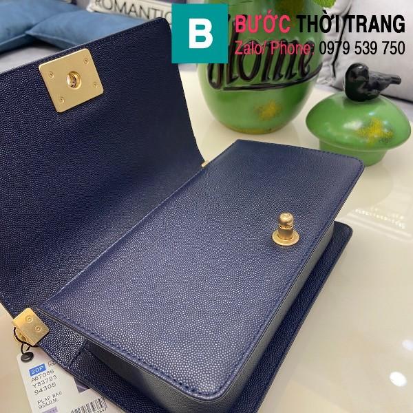 Túi xách Chanel Boy siêu cấp ô trám da bê màu xanh dương size 25cm - 67086