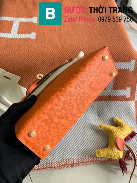 Túi xách Hermes Kelly mini siêu cấp da epsom màu cam size 19.5cm