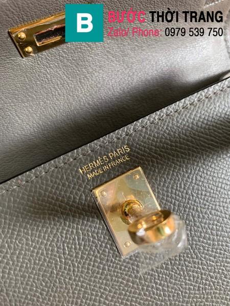 Túi xách Hermes Kelly mini siêu cấp da epsom màu ghi xám size 19.5cm
