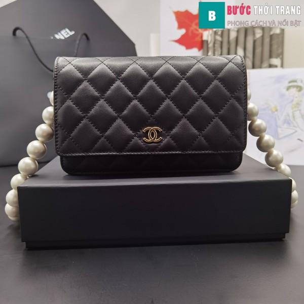 Túi Xách Chanel Classic Wallet On Chain siêu cấp da cừu màu đen 19cm - 81028