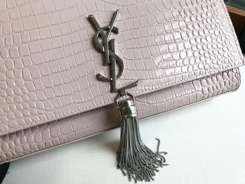 Túi YSL Medium kate tassel chain màu hồng dập vân cá sấu 24cm - 354119
