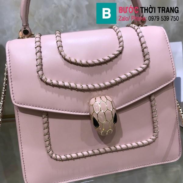 Túi xách Bvlgari serventi forever siêu cấp da bê màu hồng size 18 cm