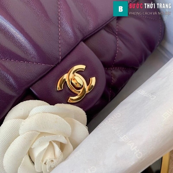 Túi xách đeo chéo Chanel siêu cấp mẫu mới màu tím size 25 cm
