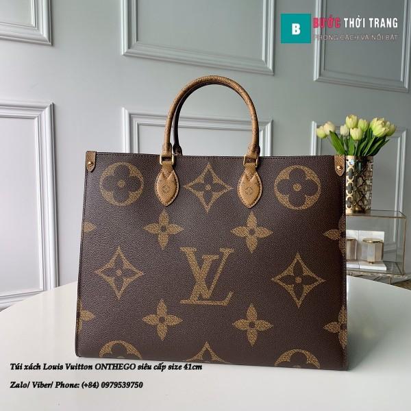 Túi xách Louis Vuitton ONTHEGO siêu cấp 2 mặt nâu đen size 41cm - M44576