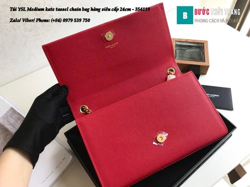 Túi YSL Medium kate tassel chain màu đỏ tag vàng size 24cm - 354119