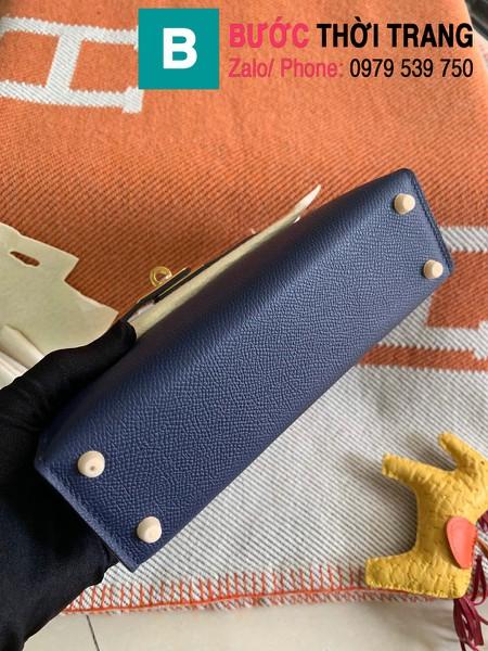 Túi xách Hermes Kelly mini siêu cấp da epsom màu xanh tím than size 19.5cm