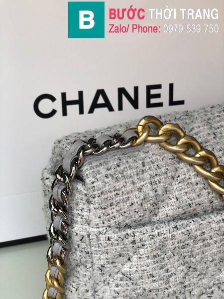 Túi xách Chanel 19bag siêu cấp vải casvan màu trắng size 26cm - AS1160
