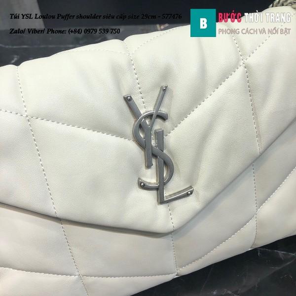 Túi YSL Loulou Puffer shoulder siêu cấp màu trắng size 29cm - 577476