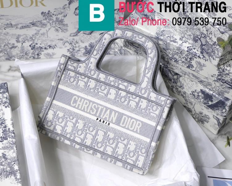 Túi xách Dior Book Tote mini siêu cấp chất liệu vải casvan màu 1 size 23cm