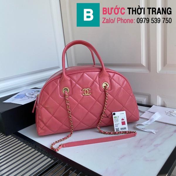 Túi xách Chanel Bowling bag siêu cấp da bê màu hồng size 38cm - AS2223