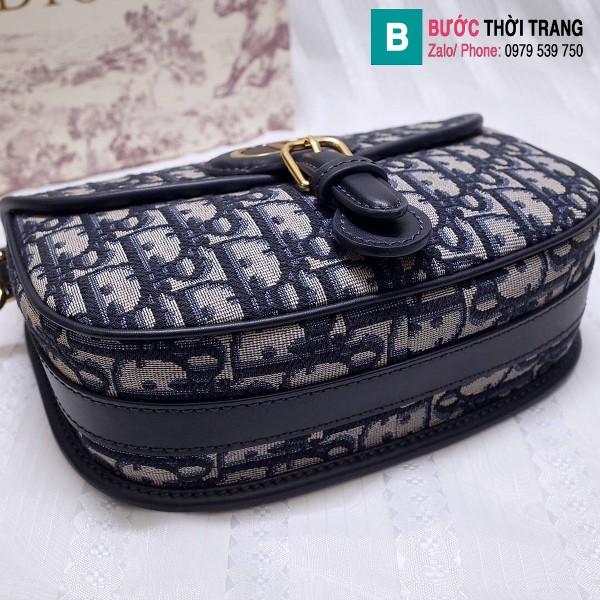 Túi xách Dior bobby siêu cấp oblique jacquard màu xanh đen size 18 cm