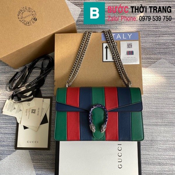 Túi xách Gucci Dionysus siêu cấp small da gốc khóa đầu rồng sọc xanh đỏ size 28 cm - 400249