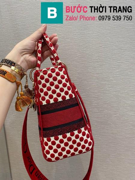 Túi xách Dior Lady siêu cấp vải casvan màu đỏ size 24cm