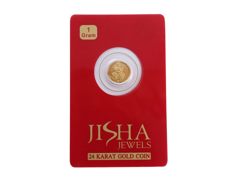 Beautiful Laxmi Ganesha Pure Gold Coin In 995 Fine Stamped 24Karat Yellow Gold