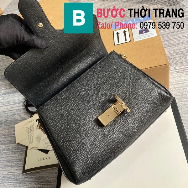 Túi xách Gucci Interlocking Leather Chain Crossbody Bag siêu cấp màu đen size 25cm - 510302