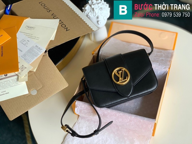 Túi xách Louis Vuitton Pont 9 siêu cấp da bò màu đen size 23 cm - M55980