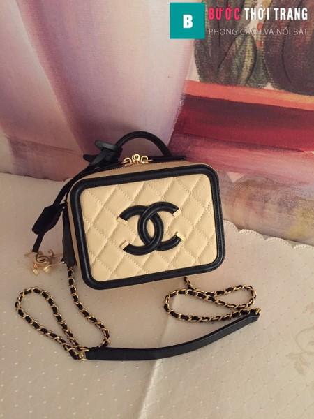 Túi xách Chanel Vanity case bag siêu cấp màu da viền đen size 17 cm - 93314