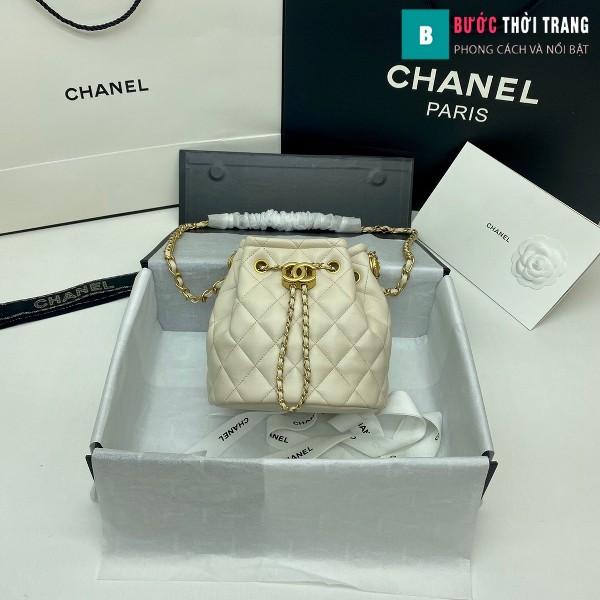 Túi xách Chanel Drawstring Bag siêu cấp màu trắng ngà size 20 cm da cừu