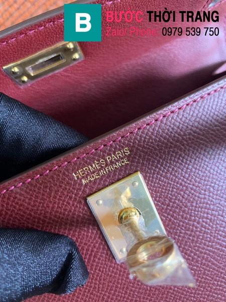 Túi xách Hermes Kelly mini siêu cấp da epsom màu nâu size 19.5cm