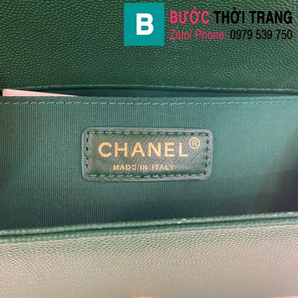 Túi xách Chanel Boy siêu cấp ô trám da bê màu xanh cổ vịt size 25cm - 67086