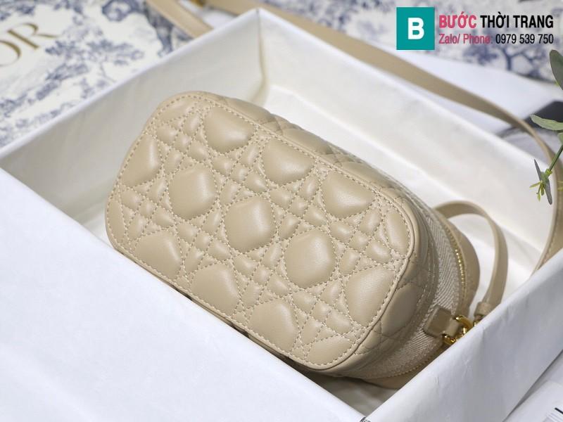 Túi xách Dior Travel vanity case siêu cấp da cừu màu da size 18.5cm