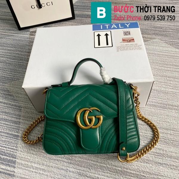 Túi xách Gucci Marmont mini top handle bag siêu cấp màu xanh size 21 cm - 547260