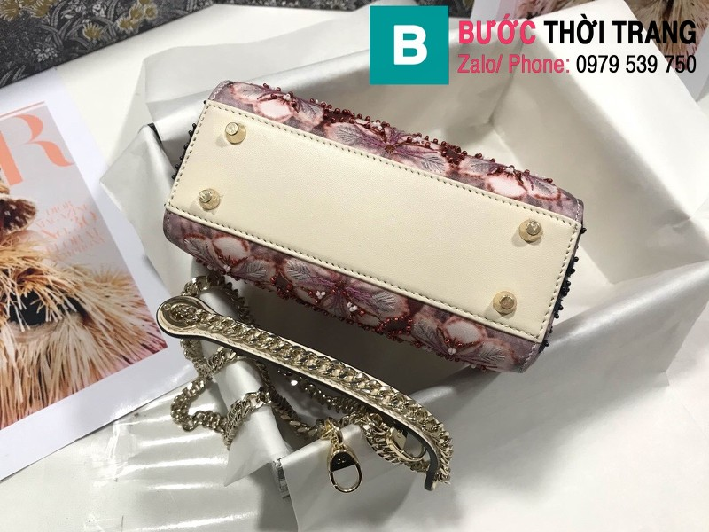 Túi xách Dior Lady siêu cấp vải thổ cẩm màu 2 size 17cm - M0598