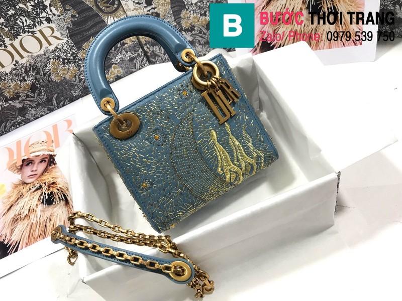 Túi xách Dior Lady siêu cấp da bê màu 4 size 17cm - M0598