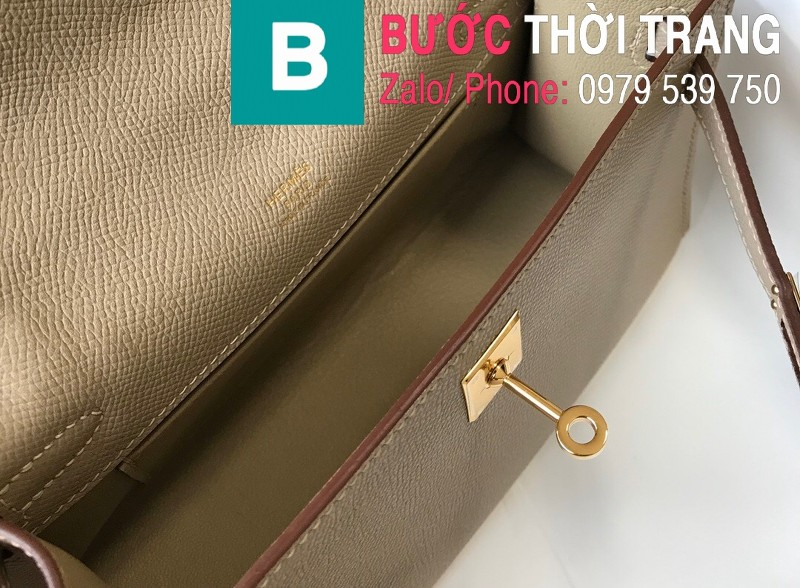 Túi xách Hermes Kelly Pochette siêu cấp da epsom màu xám lợt size 22cm