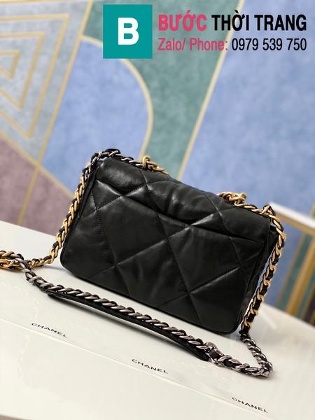 Túi xách Chanel 19 flap bag siêu cấp da bê màu đen size 26 cm - 1160