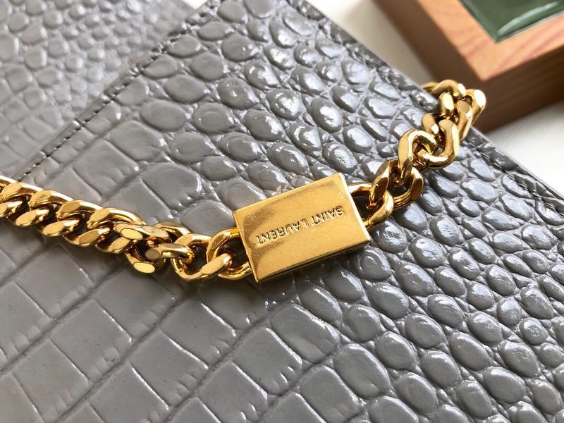 Túi YSL Medium kate tassel chain màu ghi tag vàng dập vân cá sấu 24cm - 354119