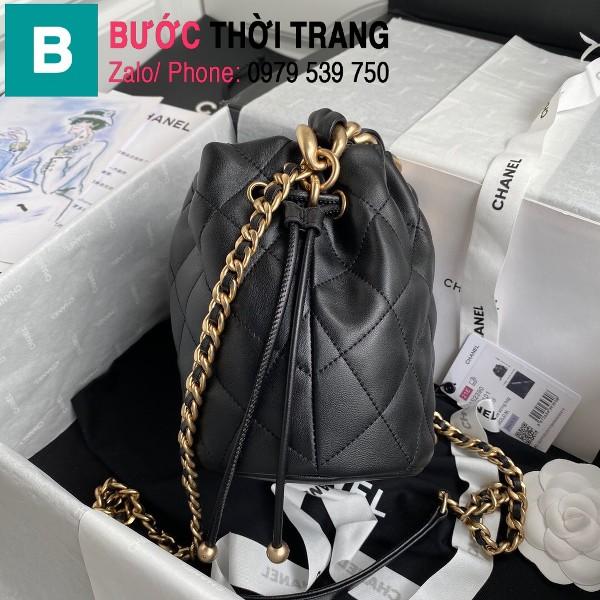 Túi dây rút Chanel siêu cấp da cừu bóng màu đen size 19cm - AS2390