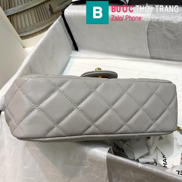 Túi xách Chanel Flap bag siêu cấp da cừu màu xám size 23cm - AS2438