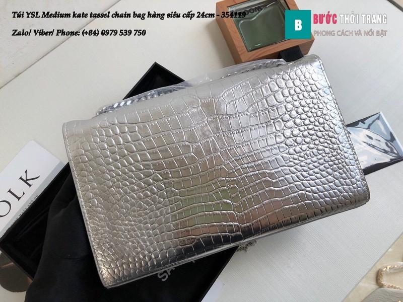 Túi YSL Medium kate tassel chain màu bạc bóng dập vân cá sấu 24cm - 354119