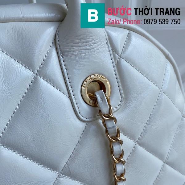 Túi xách Chanel Bowling bag siêu cấp da bê màu trắng size 38cm - AS2223
