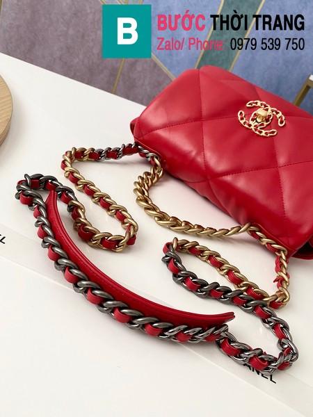 Túi xách Chanel 19 flap bag siêu cấp da bê màu đỏ size 26 cm - 1160
