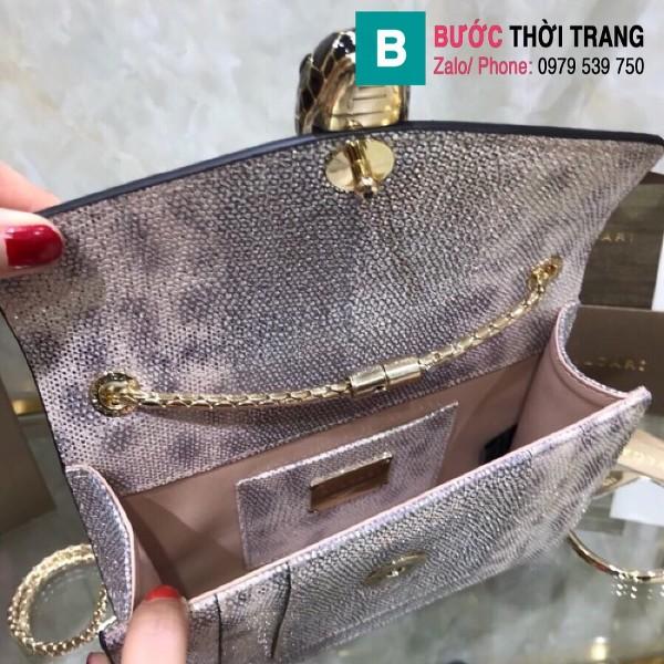 Túi xách Bvlgari serventi forever siêu cấp da rắn màu nâu bạc size 22cm