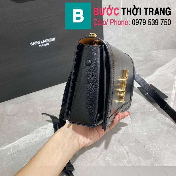 Túi đeo chéo YSL Saint Laurernt Book Bag siêu cấp da trơn màu đen tag vàng cùng màu size 24cm - 532756
